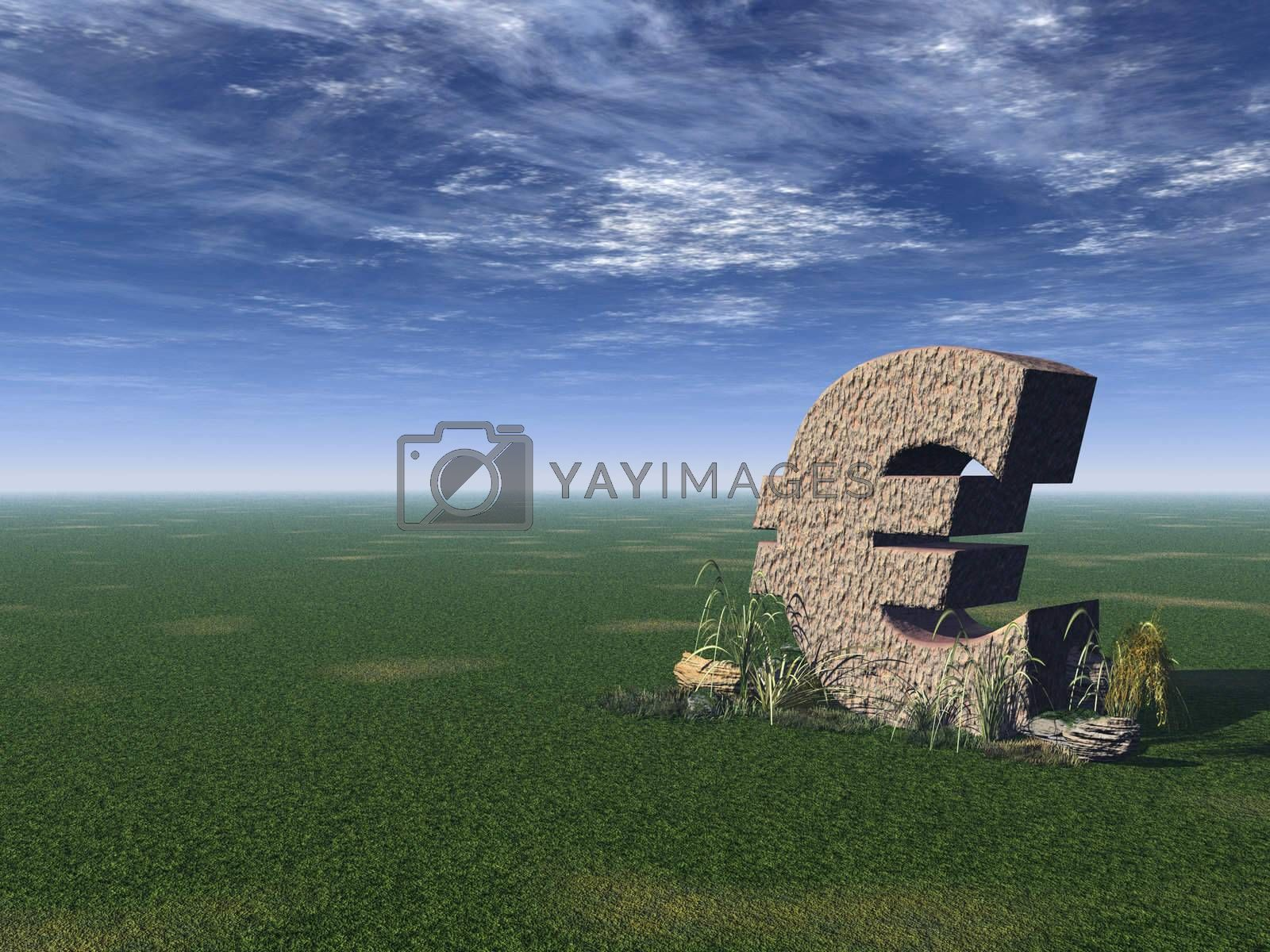 euro sign on a green field - 3d illustration