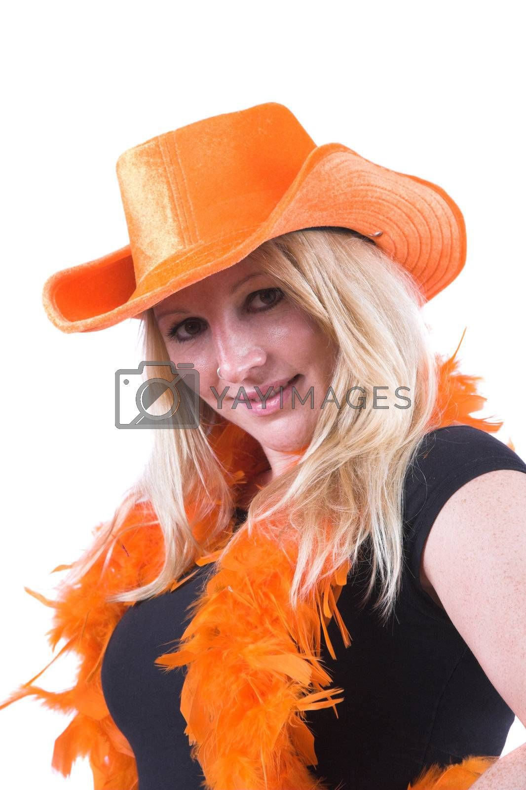 Pretty blond woman ready to support Holland in the soccer worldcup