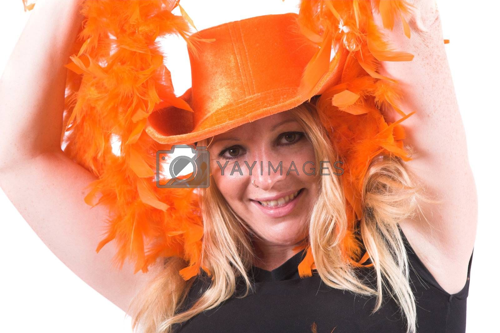 Pretty blond woman celebrating that her team has won