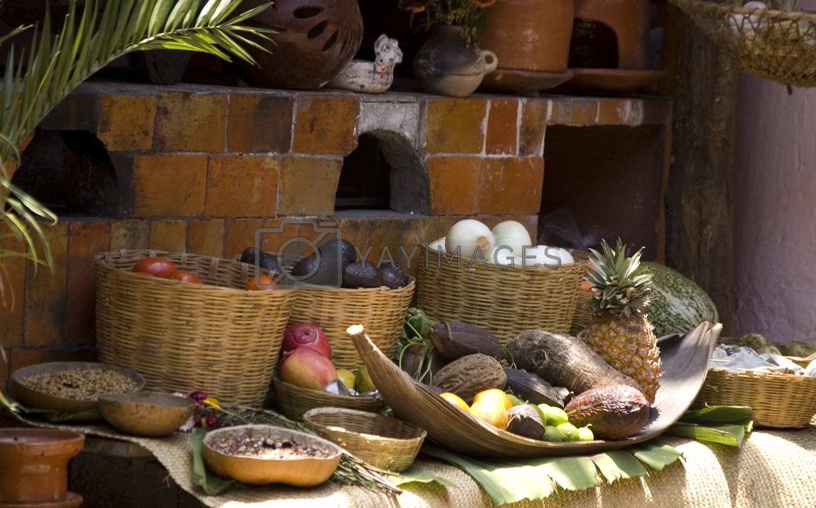 Food display at a mexican restaurant in Chiapas, Mexico
