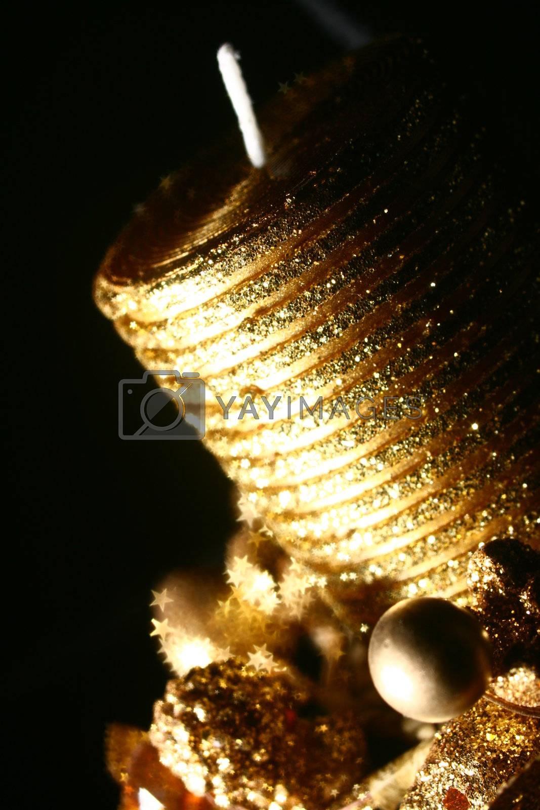 golden stars holiday background macro close up