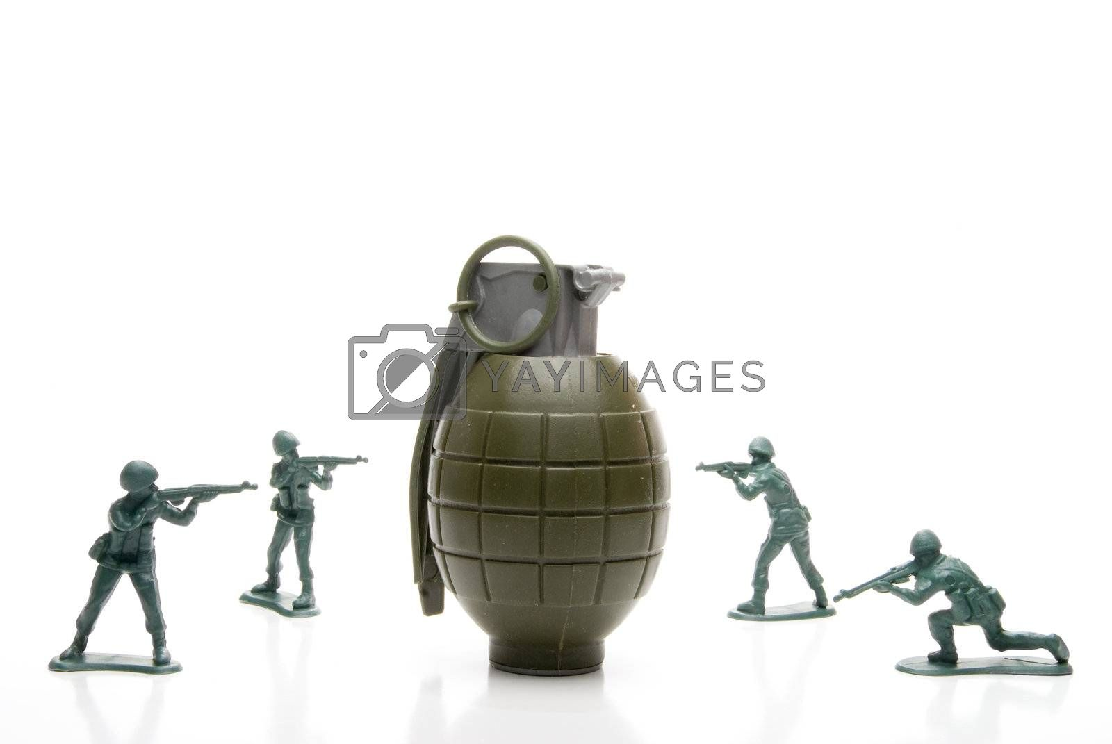 Royalty free image of Soldiers and Hand Grenade by robeo
