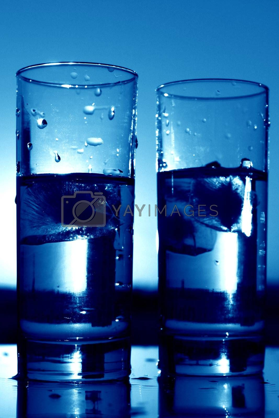 clean cold water in glass