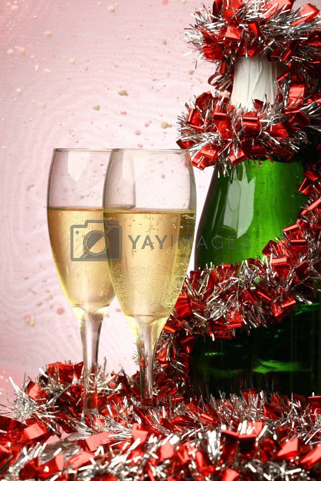 New Year's card with champagne decoration