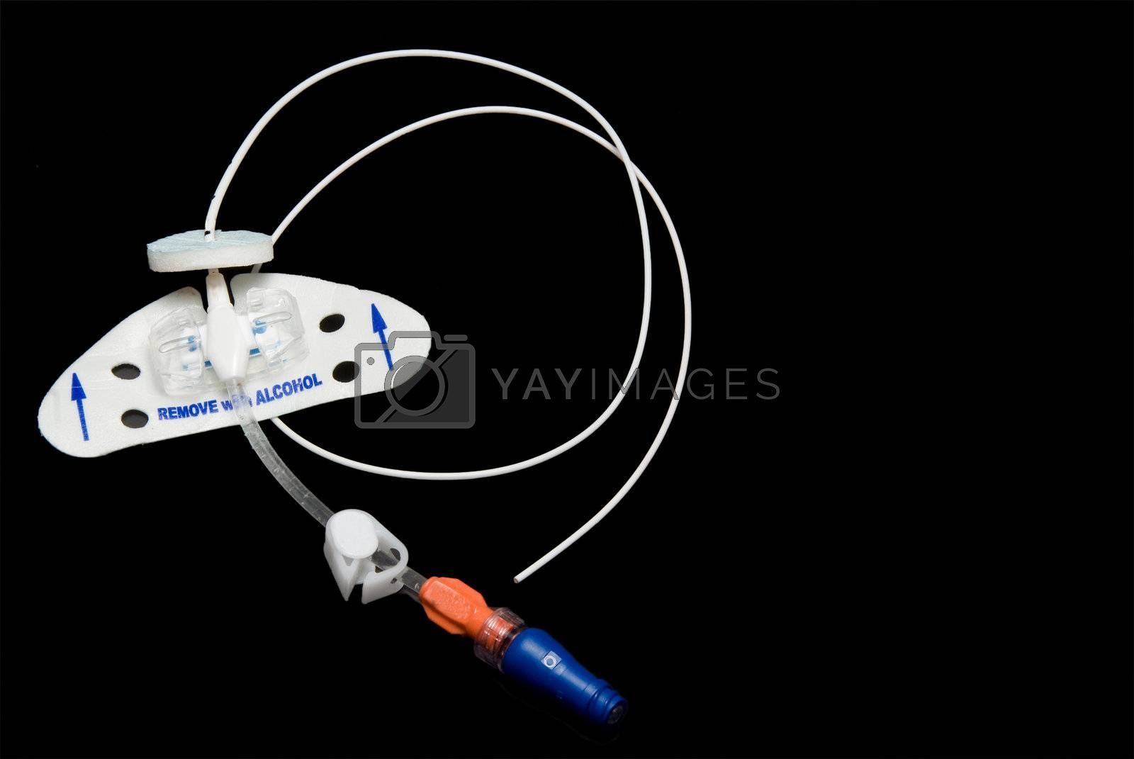 A Peripherally Inserted Central Catheter better known as a PICC line.