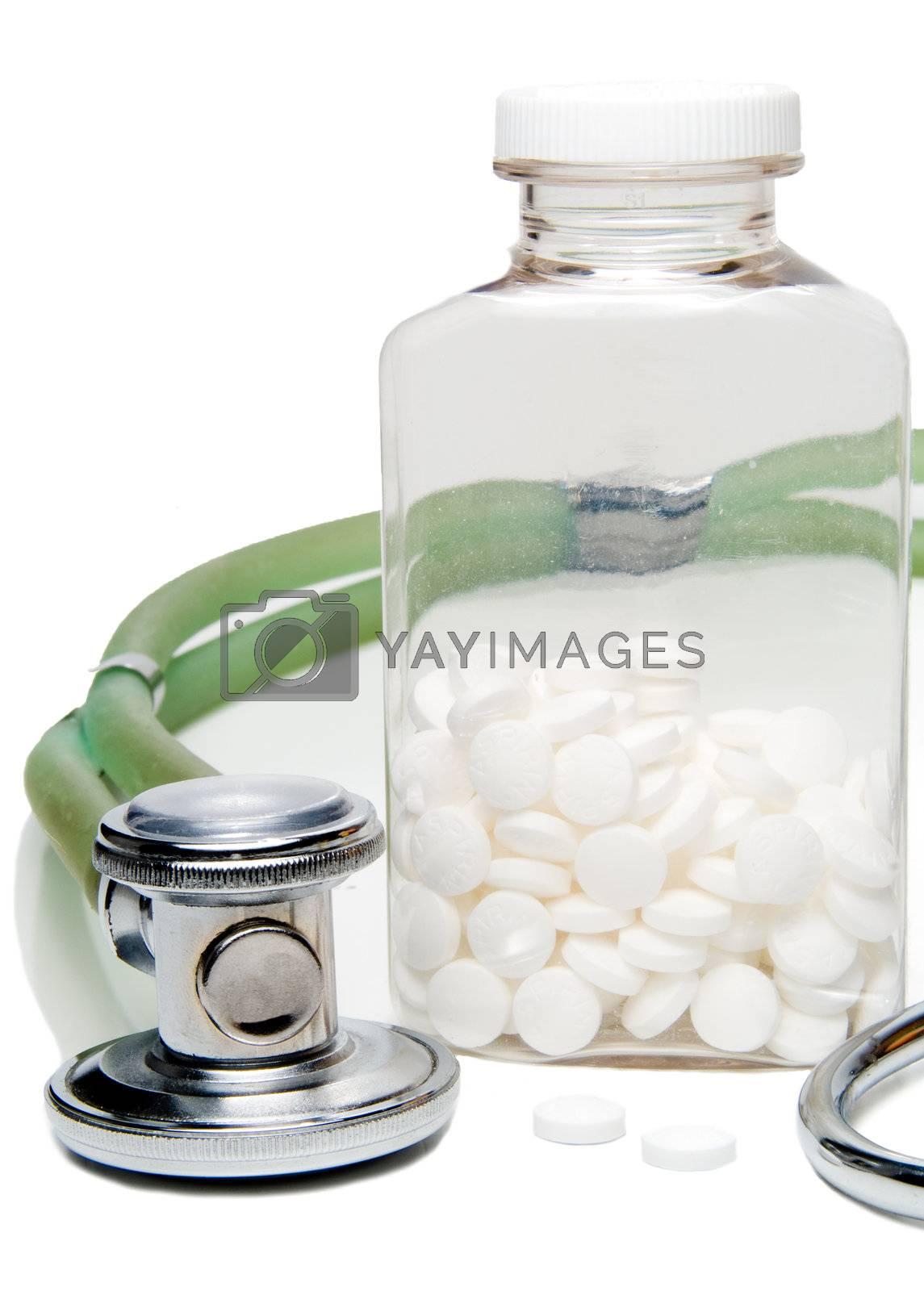 The wonder drug aspirin and a stethoscope.