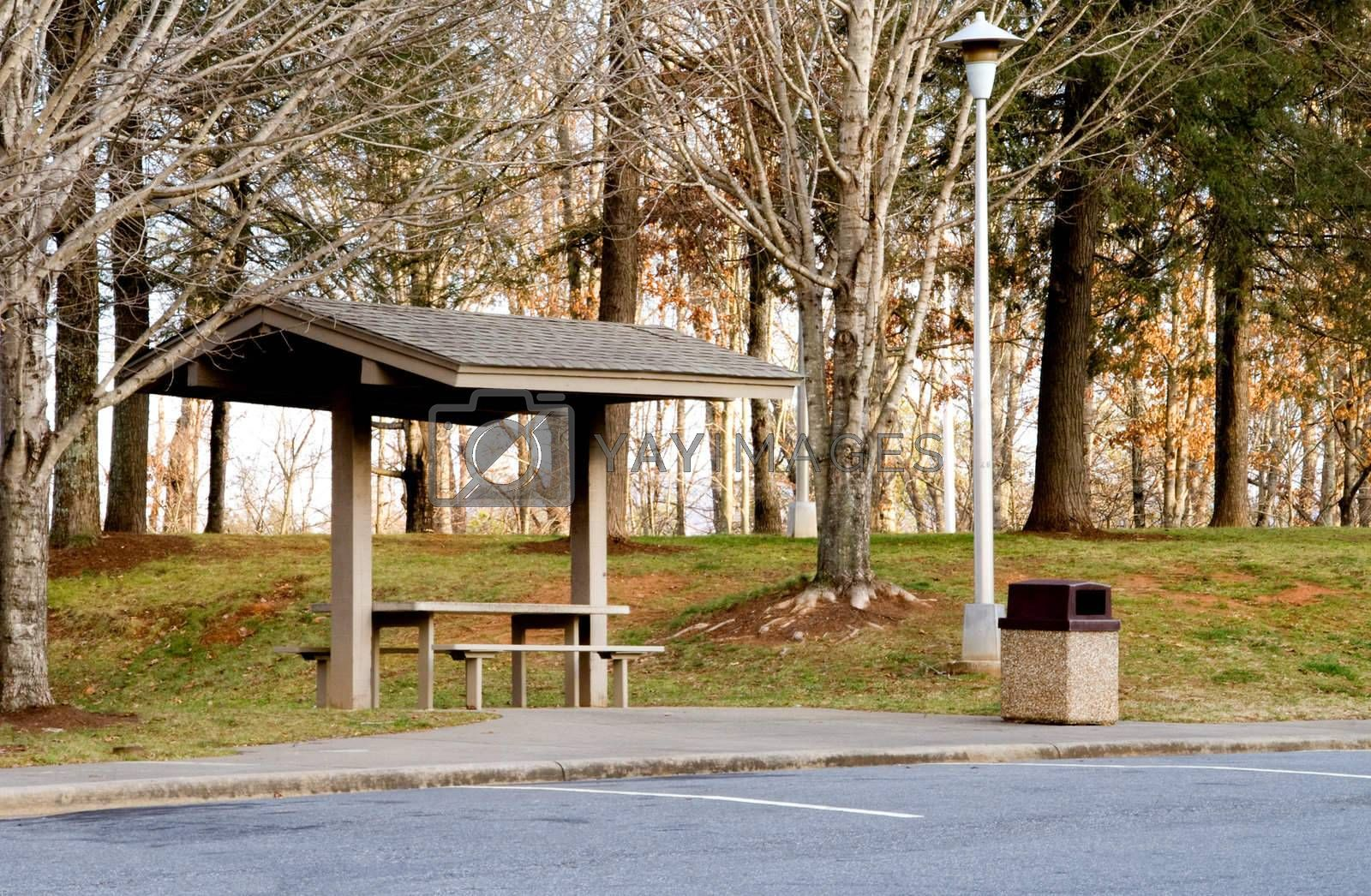 A picnic area at a highway rest stop.