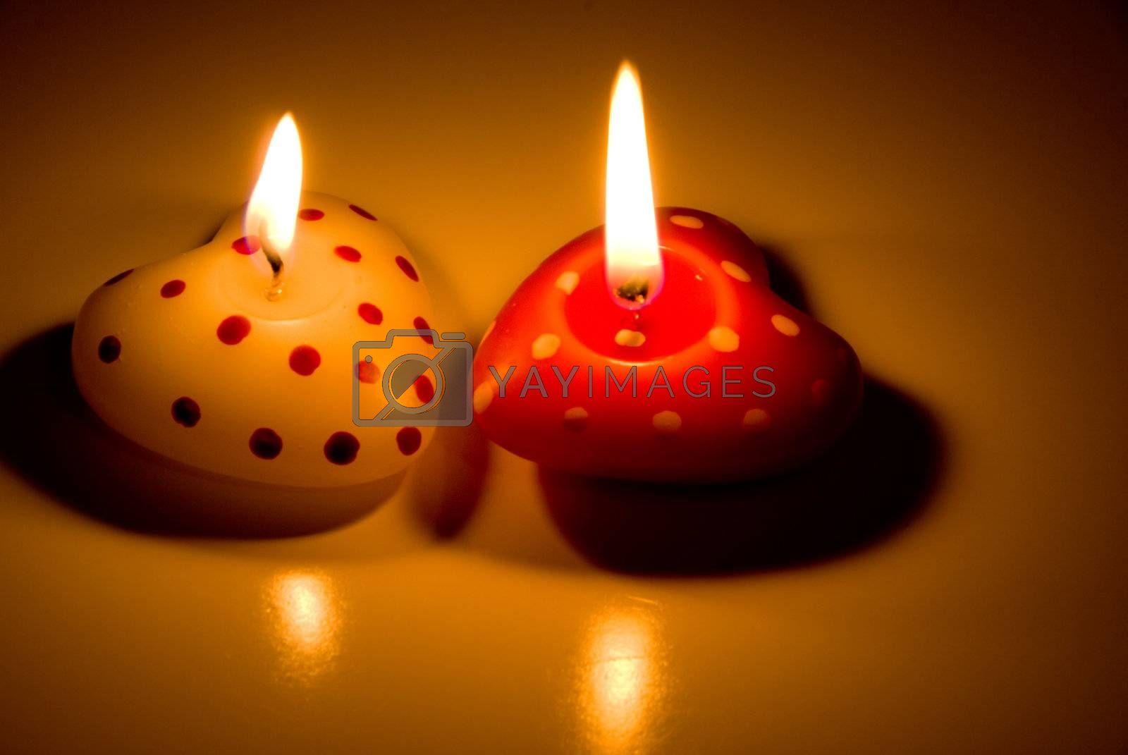 A Heart Shaped Candle decorations for Valentines day.