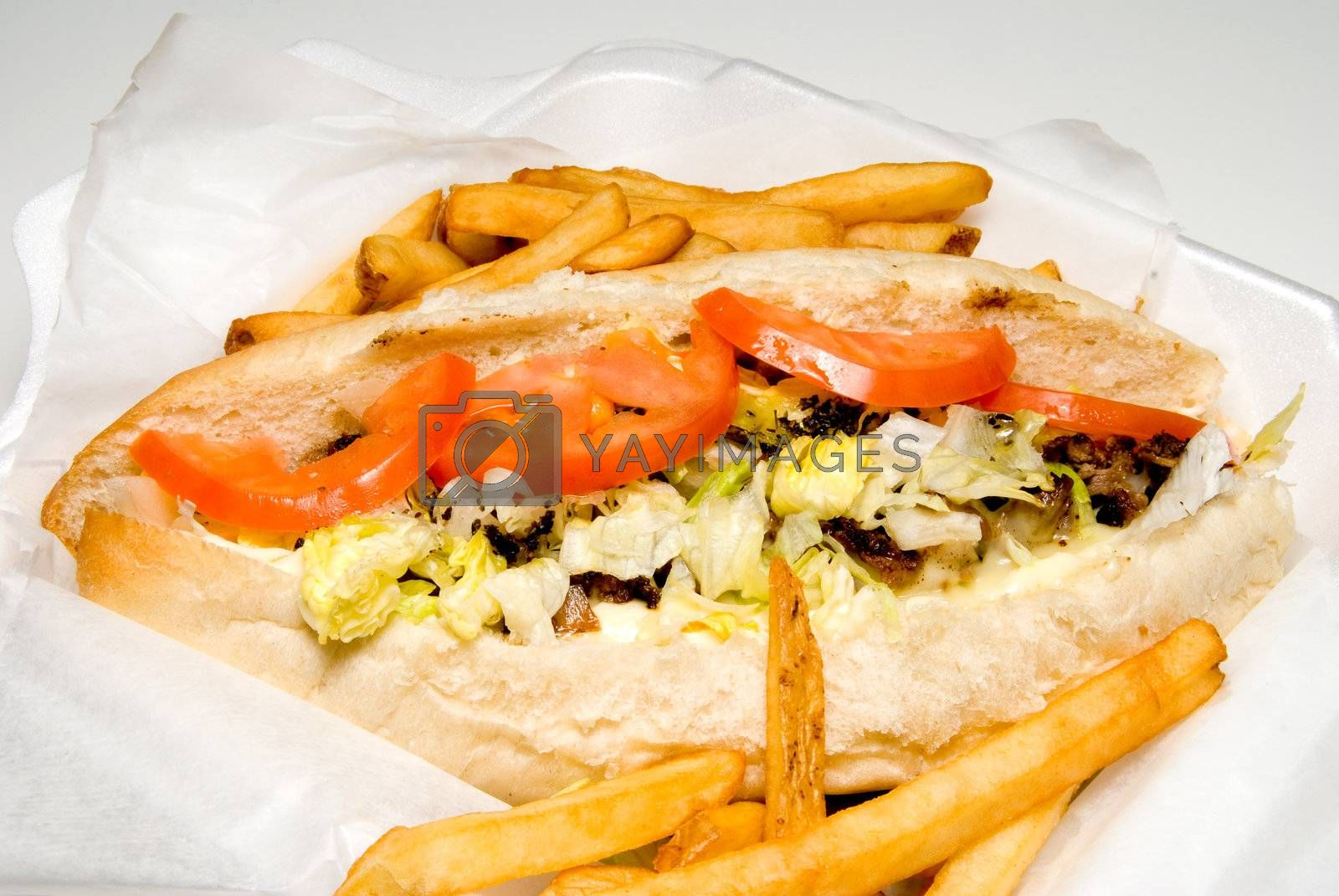 A Philly Cheesesteak and an order of French Fries