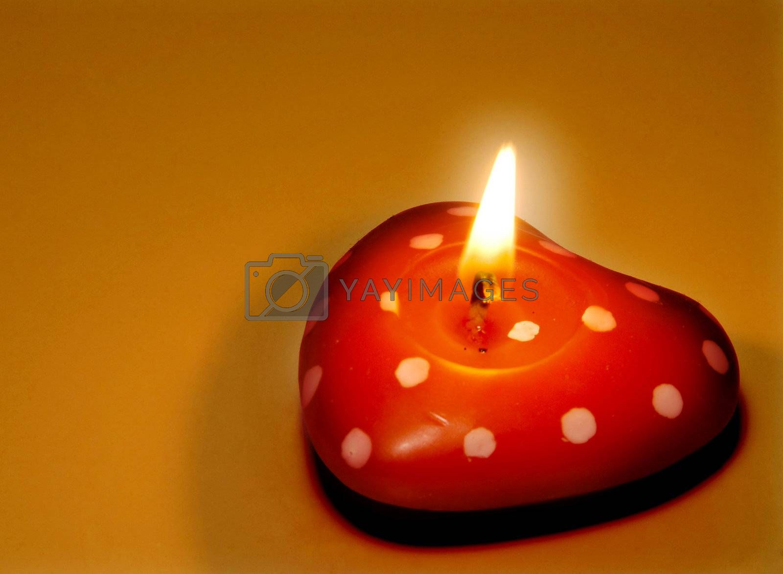 A Heart Shaped Candle decoration for Valentines day.