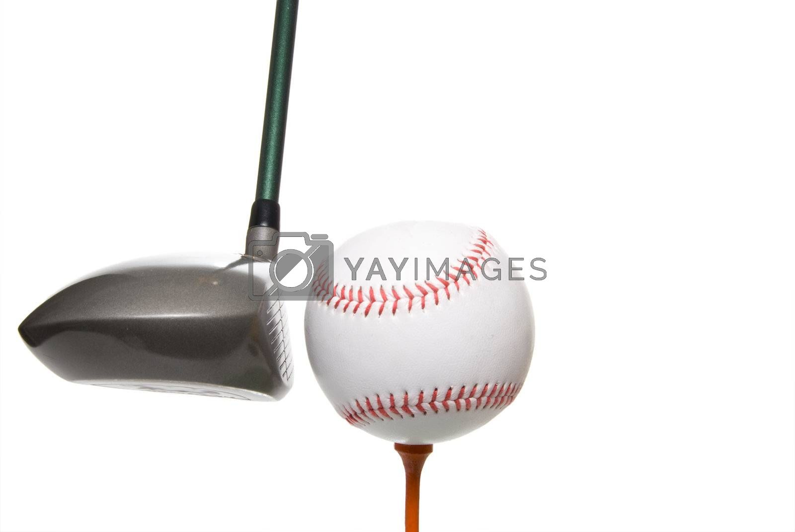 A driver before it hits a baseball on a golf tee.