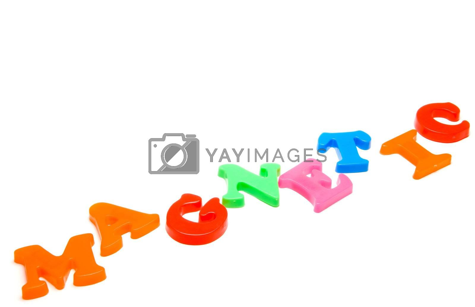 Preschol refrigerator magnet letters spelling out the word Magnetic.