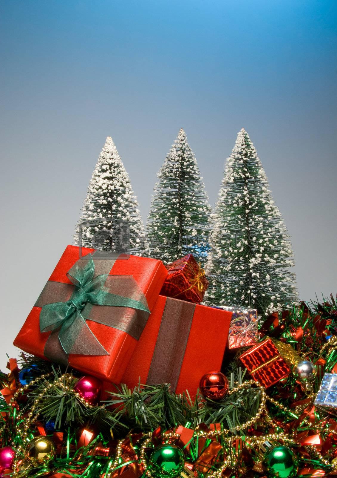 Seasonal presents given during the Christmas season.