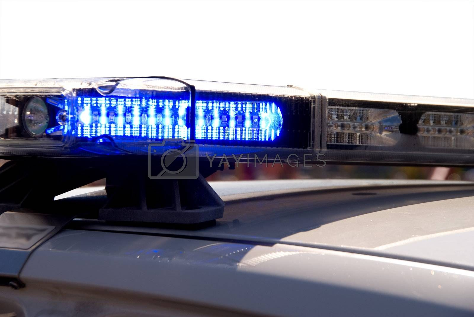 The light bar on top of a police cruiser.