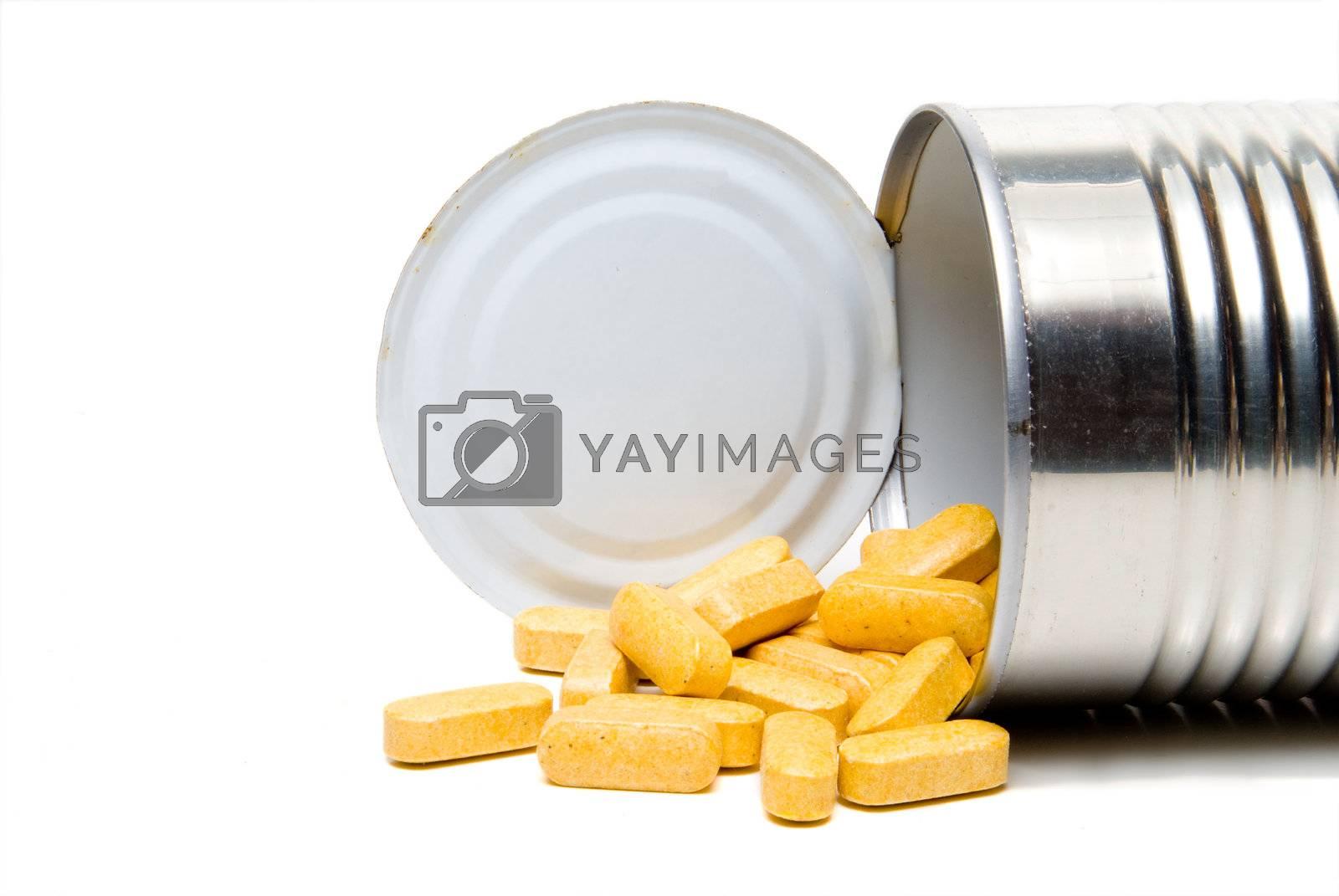 A tin can full of prescription medications.