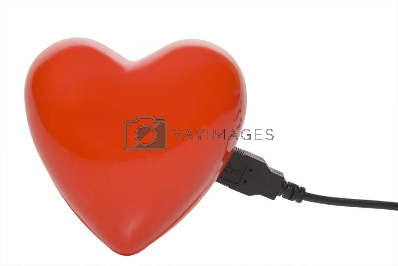 A computer cable hooked to a red heart.