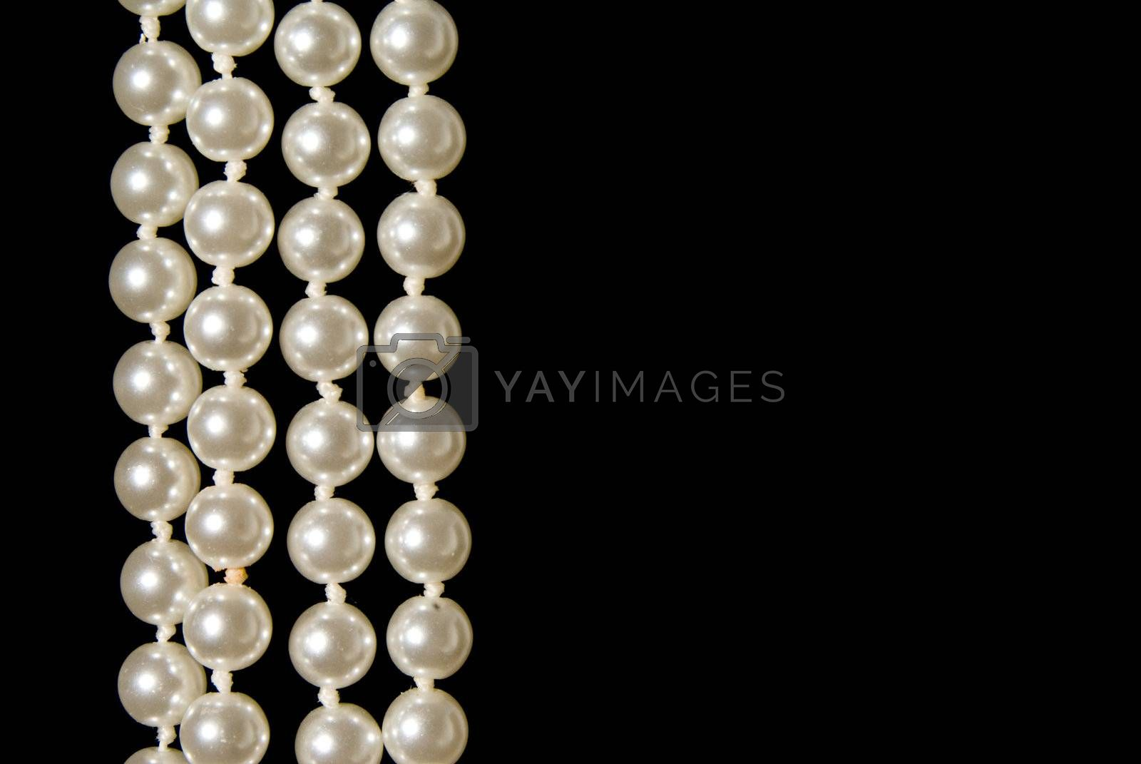 A hanging string of beautiful oyster pearls.