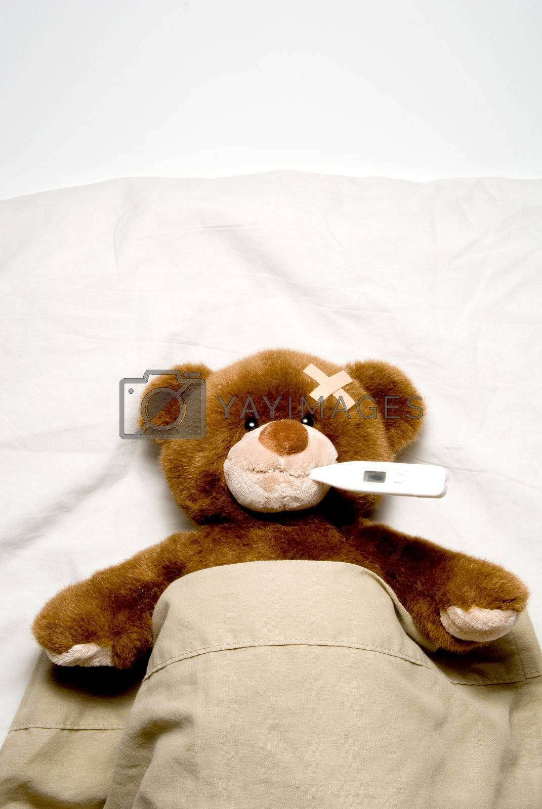 A very Sick Teddy Bear laying in his bed.