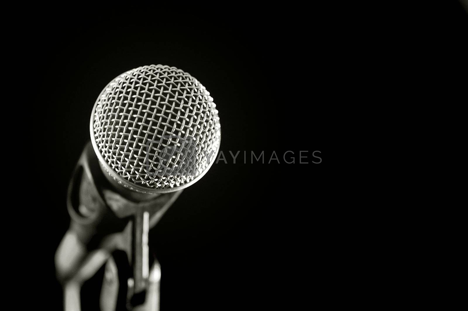 vocal microphone isolated on black