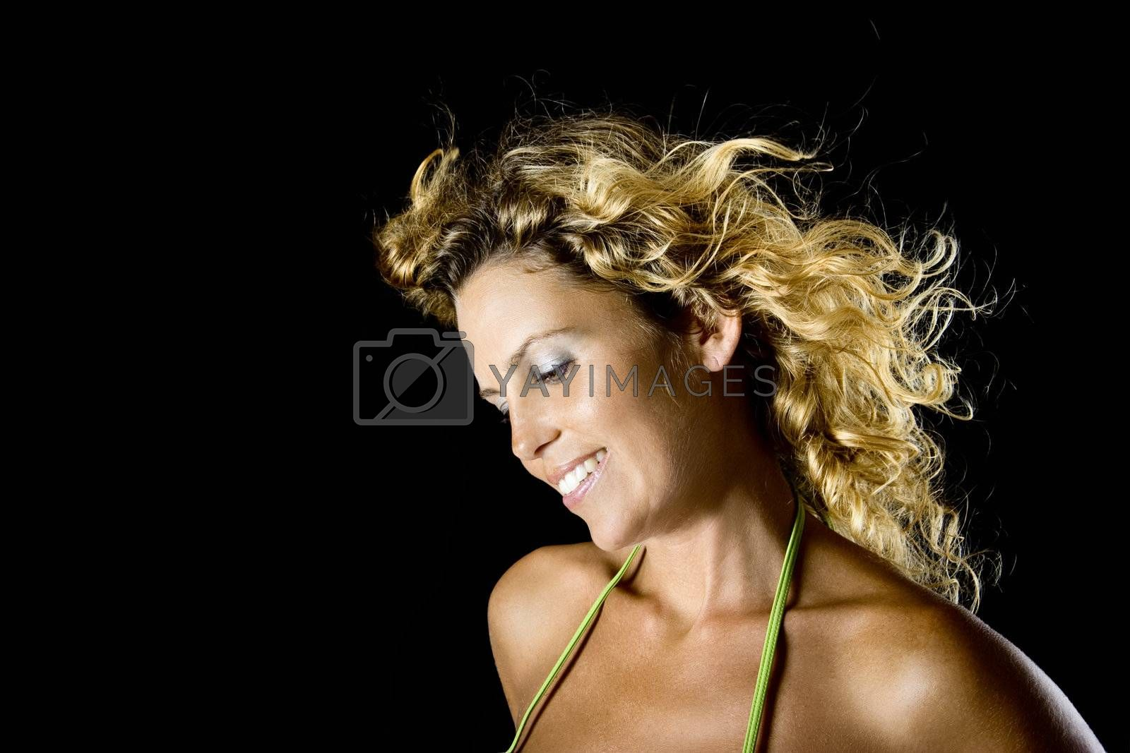 Beautiful woman portrait isolated on black background