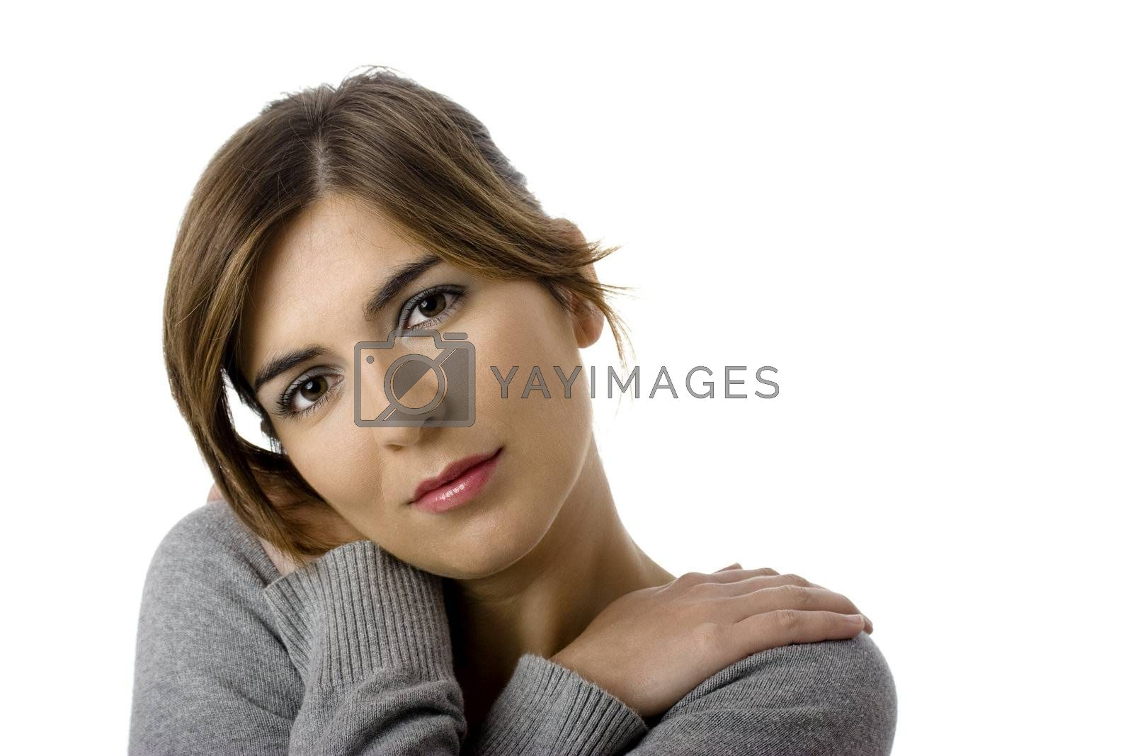 Close-up portrait of a fresh and beautiful young woman, isolated on white.