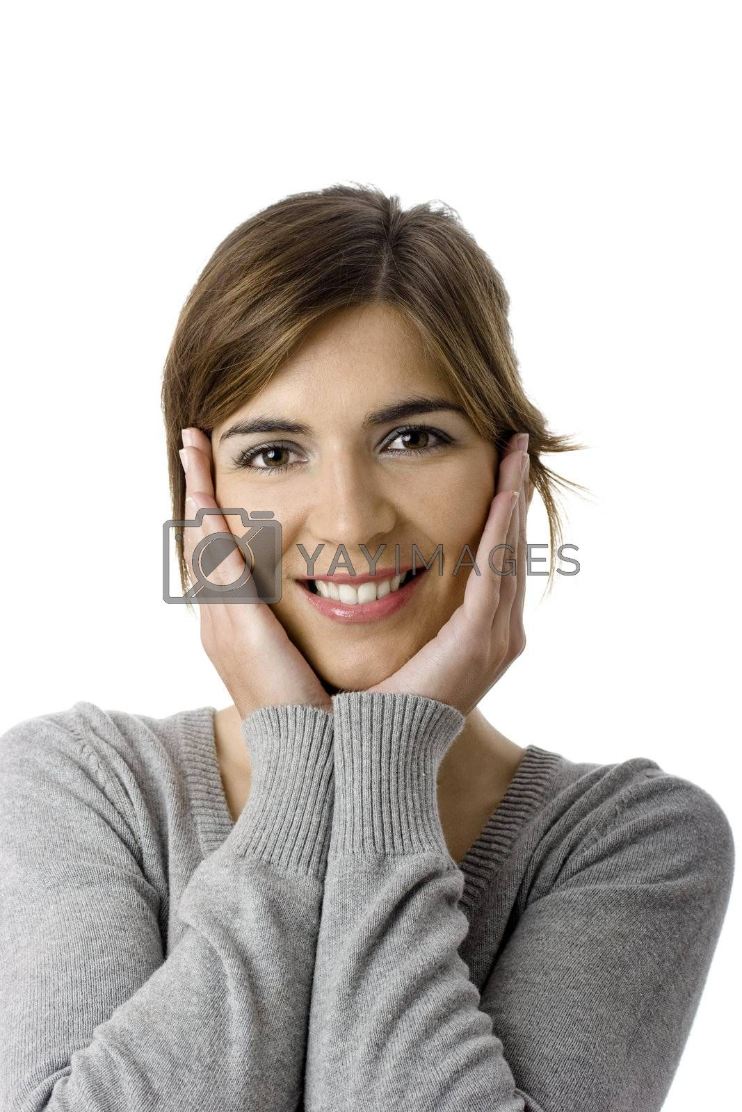 Beautiful woman smiling - Close up portrait of a beautiful female model with hands on the face
