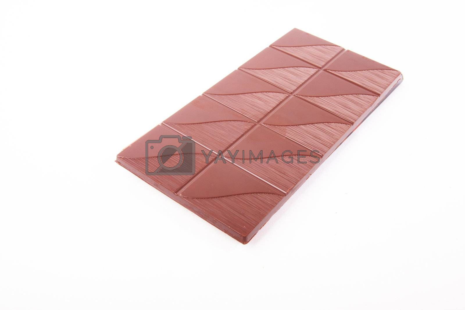 stick of chocolate  over white background