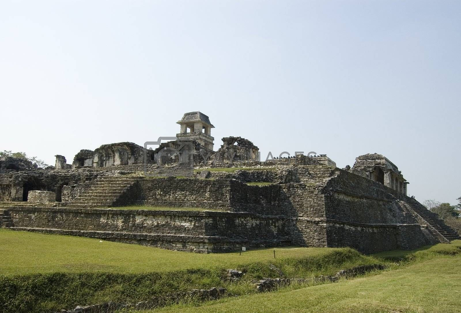 Mayan Castle showing the stairs at Palenqe Ruins in Chiapas, Mexico
