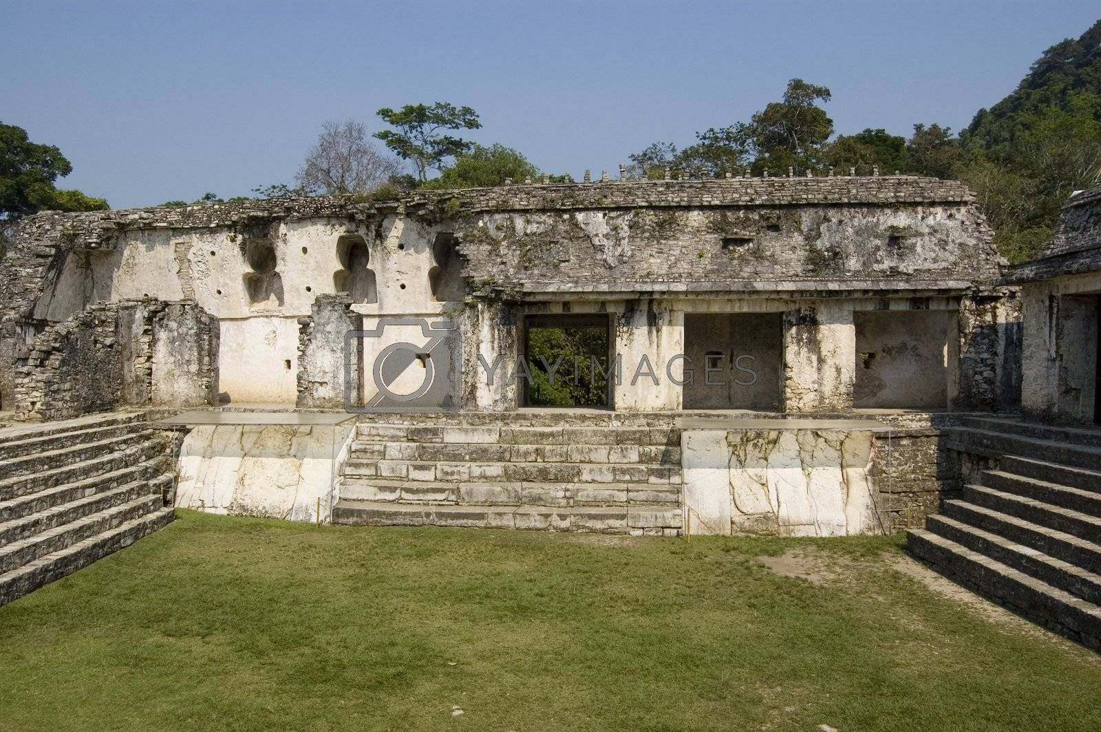 King Pakal castle detail showing the courtyard and main entrance at Palenque ruins