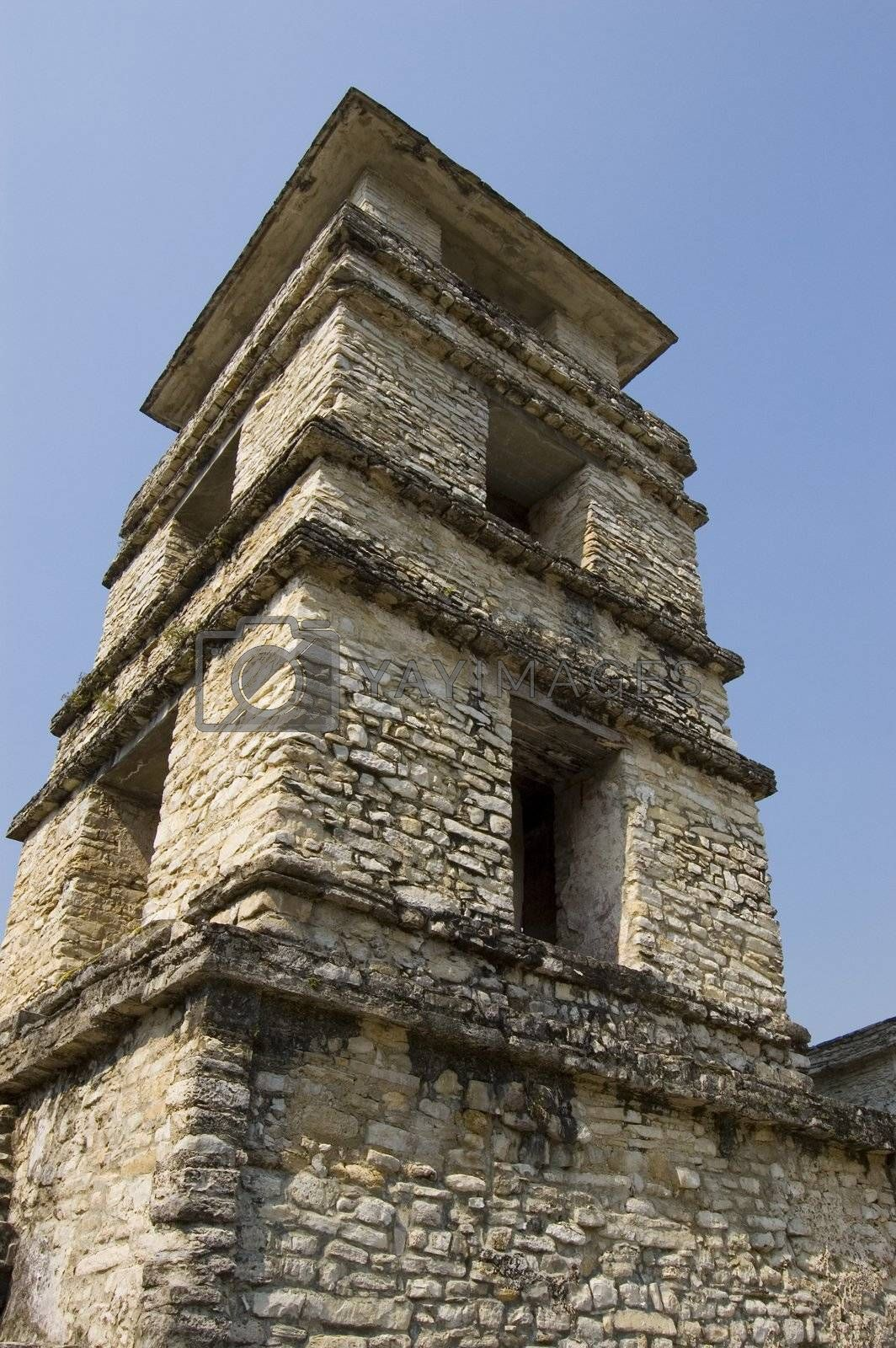 Detail of Tower in the castle at the Paleque Mayan Ruins