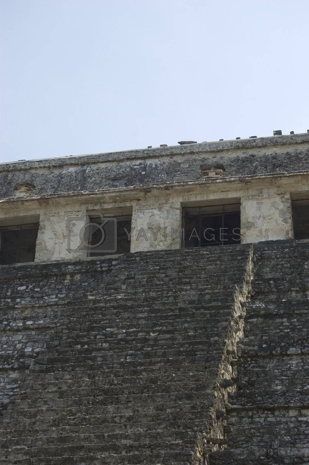 Detail of one of the temples in the mayan ruins of palenque, Chiapas Mexico