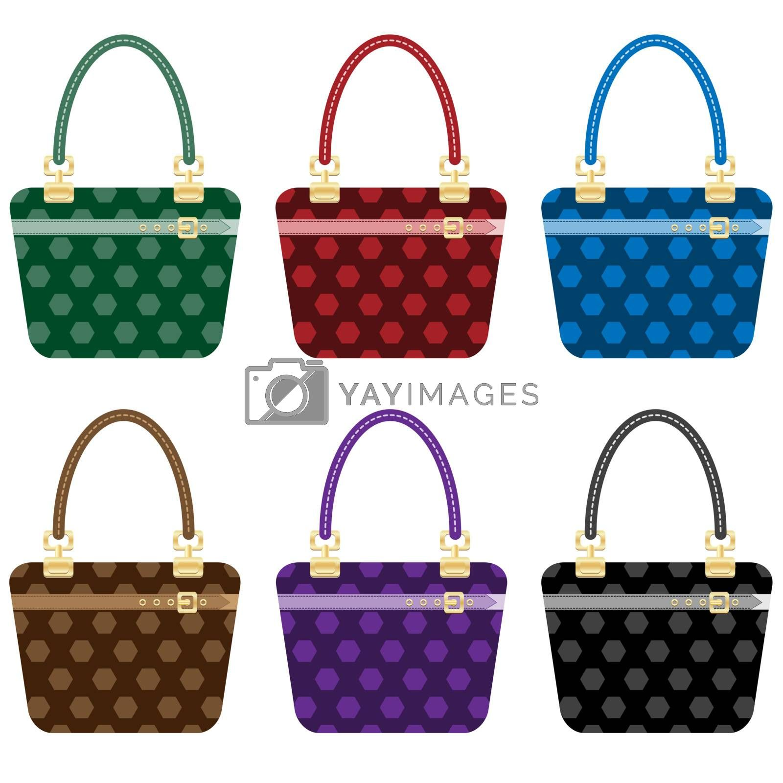 Ladies fashion handbags set in 6 colors. Isolated on white.