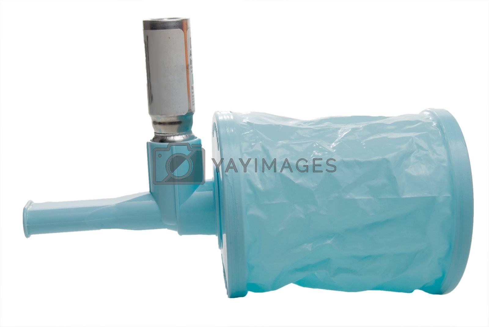 An asthma inhaler extension regulator spacer bag.