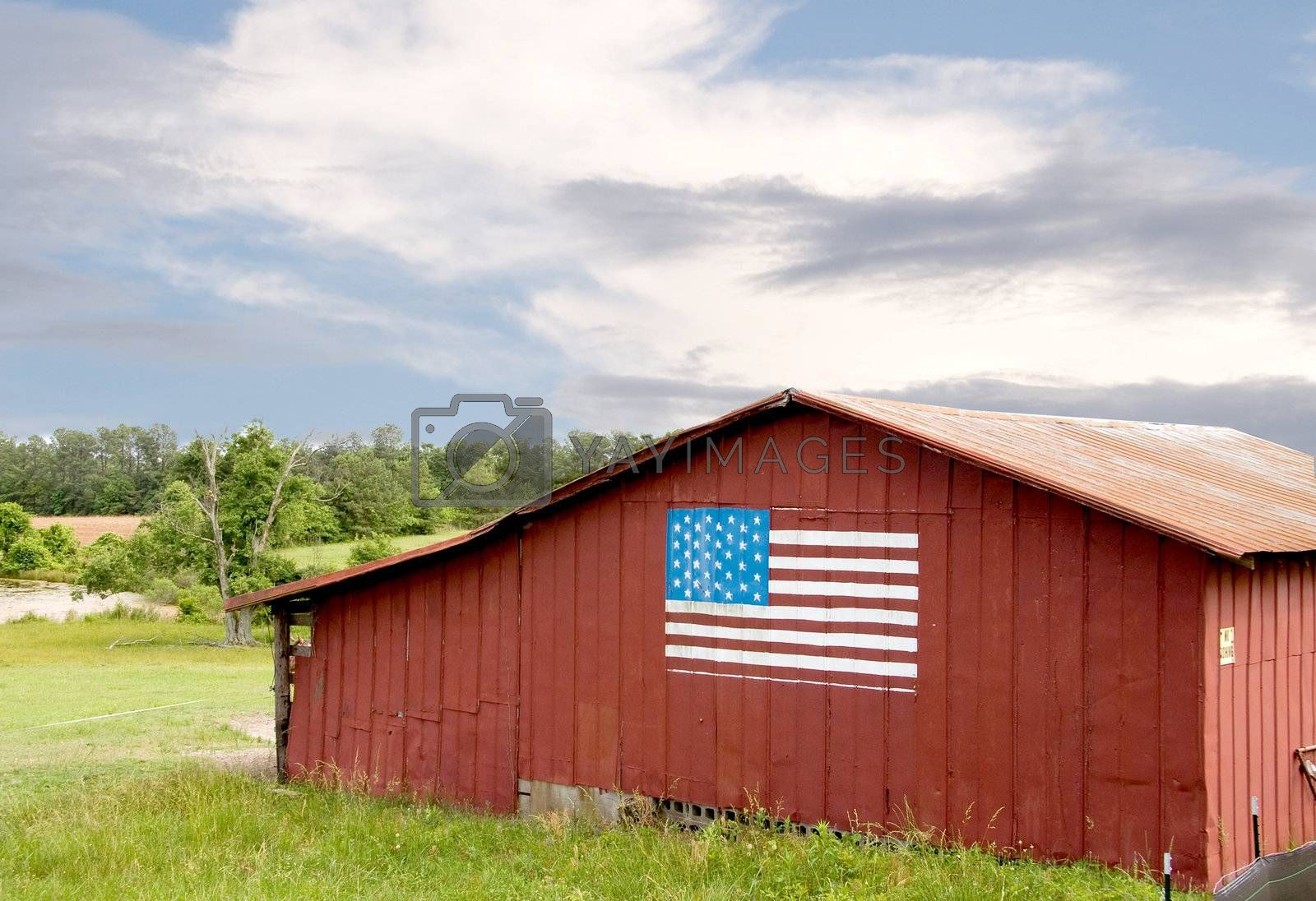 Royalty free image of American Flag on a Barn by robeo