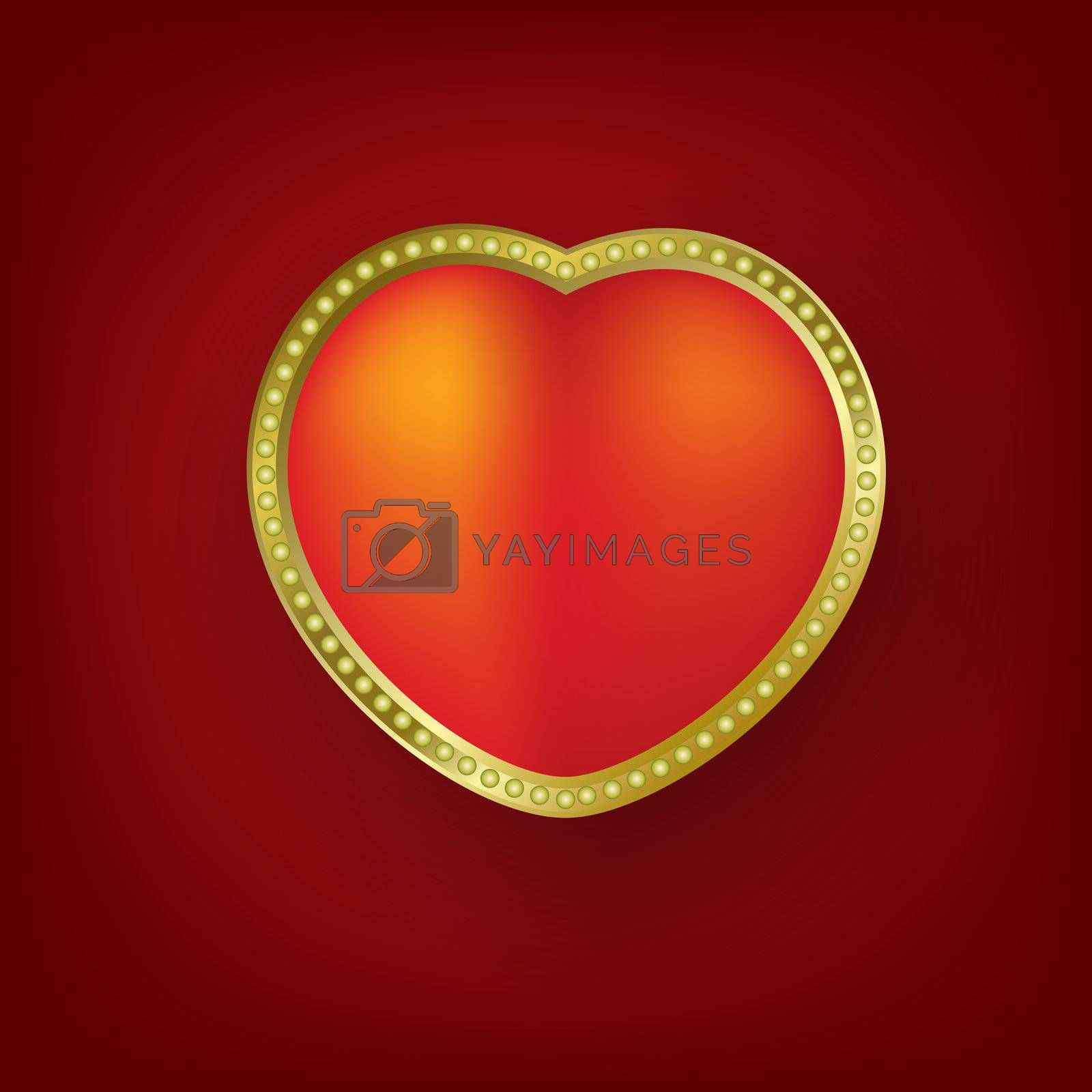 Valentines greeting with heart on red background