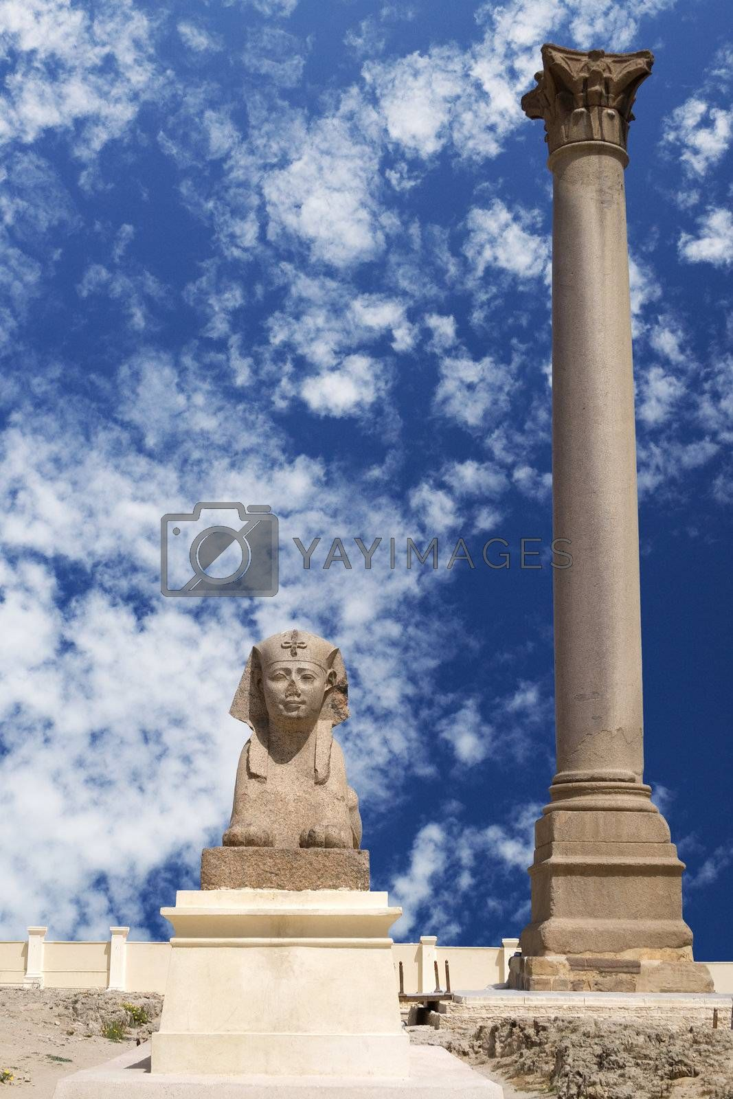 Royalty free image of Ptolemaic Sphinx and Pompey's Pillar, Egypt by shariffc