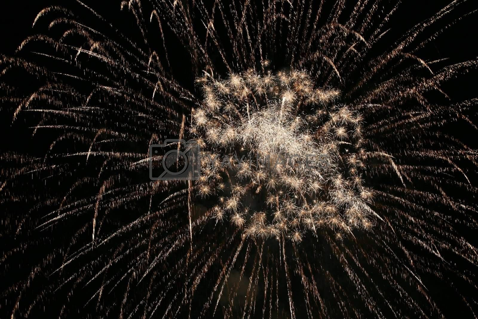 Royalty free image of Golden fireworks clusters by scrappinstacy