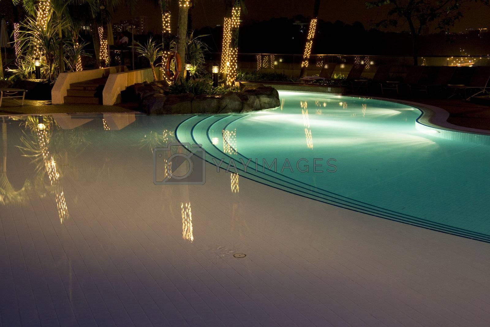 Royalty free image of Swimming Pool at Night by shariffc