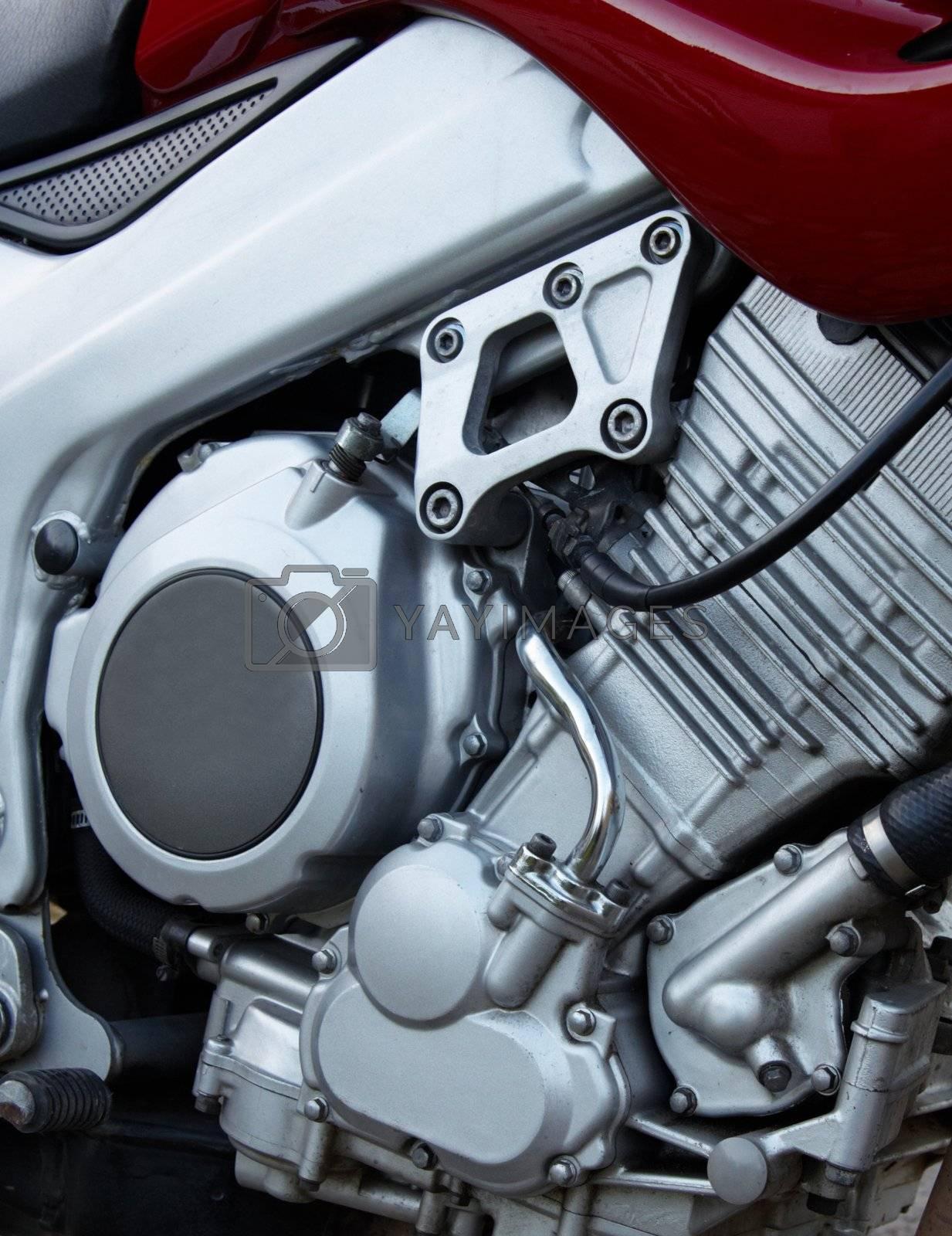 The big motorcycle engine chrome background