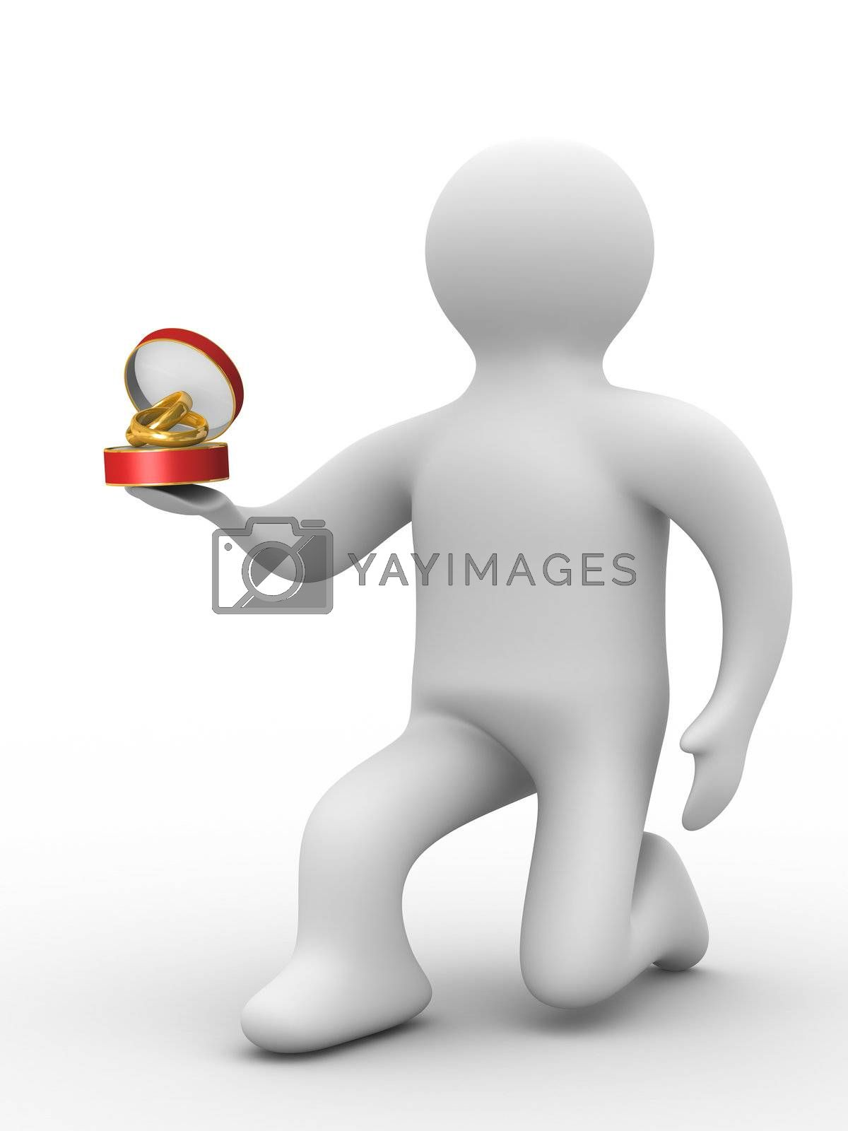 Royalty free image of man gives wedding rings. Isolated 3D image by ISerg