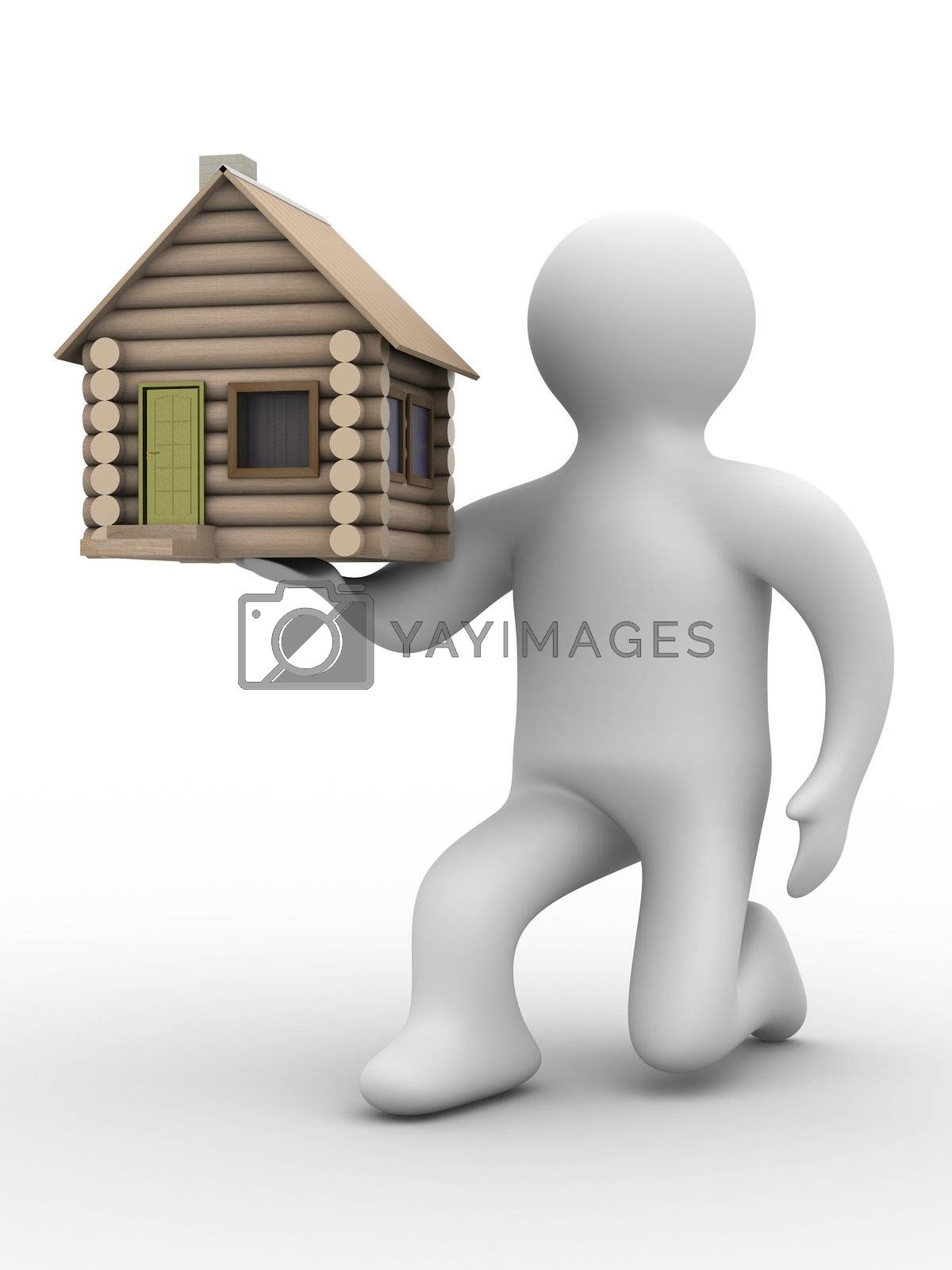 Royalty free image of house in a gift. 3D image. isolated illustrations by ISerg