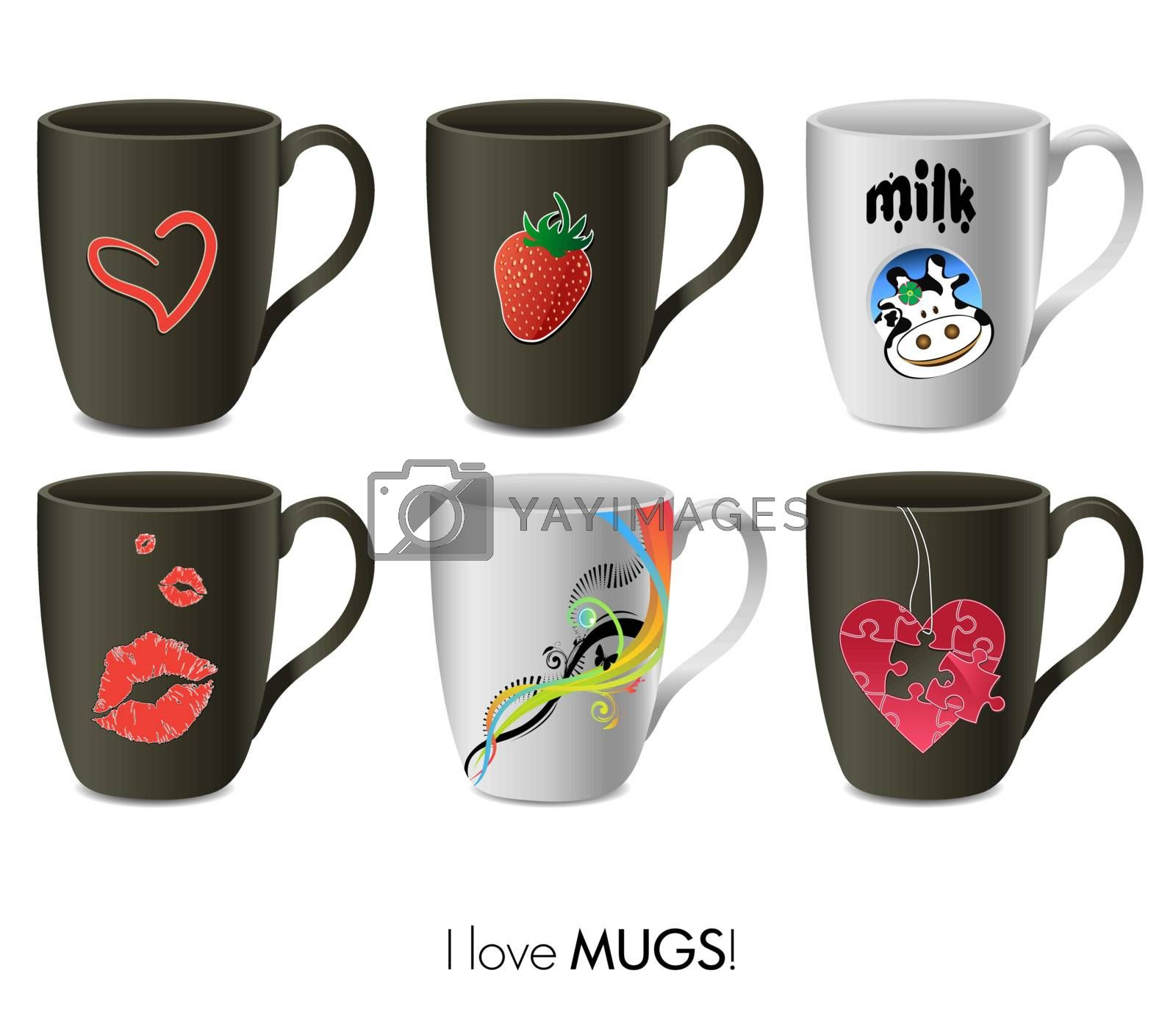 Royalty free image of A vector set of mugs by alladinian