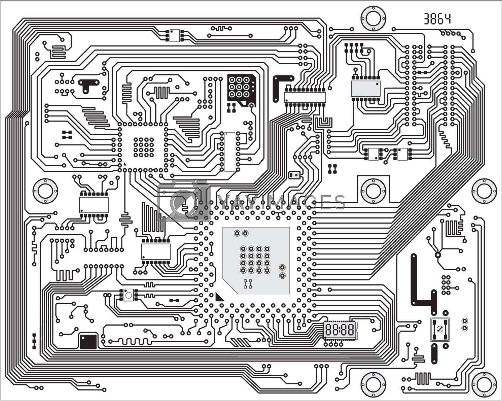 Royalty free image of Hi-tech industrial electronic vector background by pzaxe