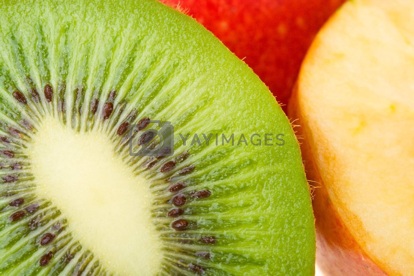 Royalty free image of close-up kiwi and apples by Alekcey