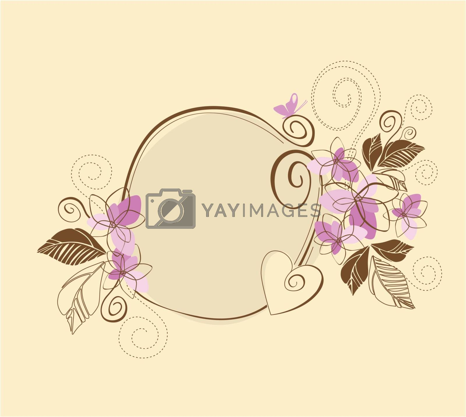 Cute pink and brown floral frame by misslina