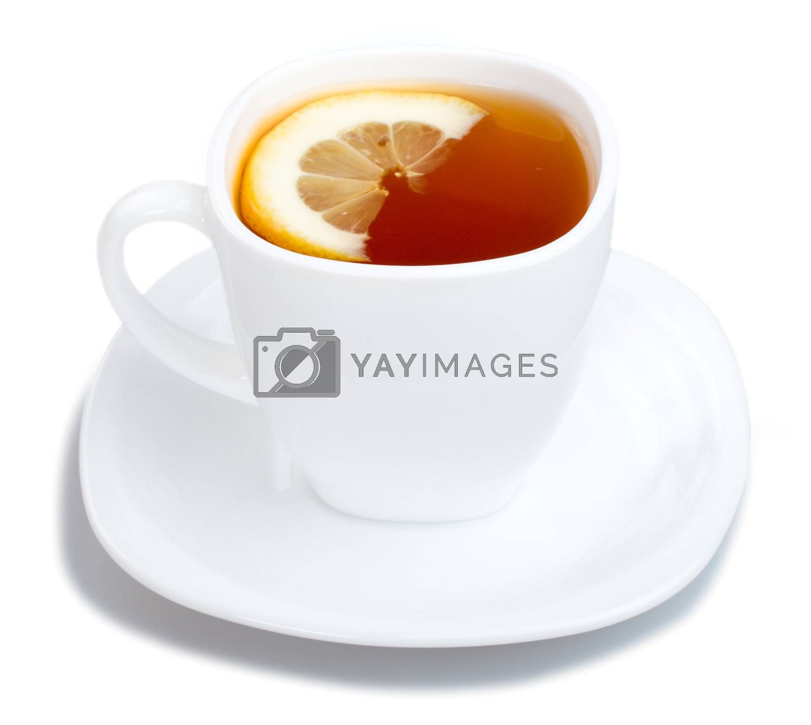 Royalty free image of cup of tea with lemon and saucer on white by Alekcey
