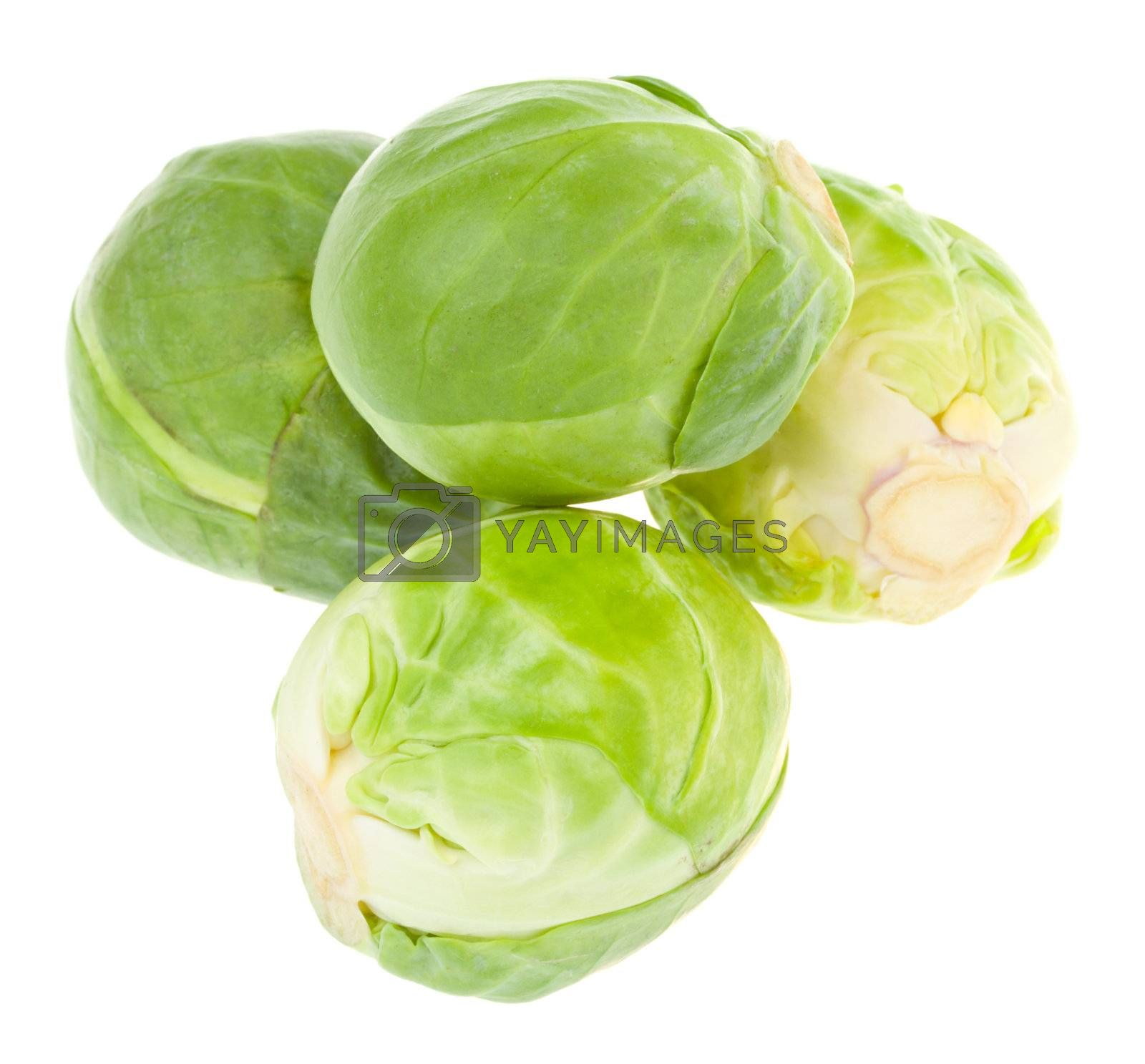 four brussels sprout in pyramid, isolated on white