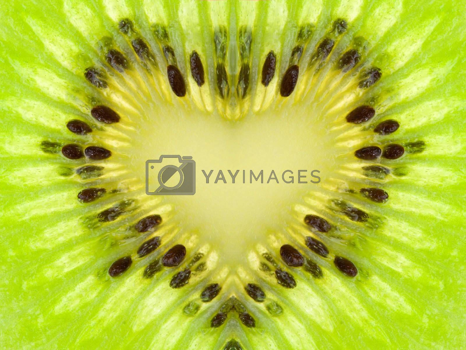 Royalty free image of green heart from kiwi by Alekcey