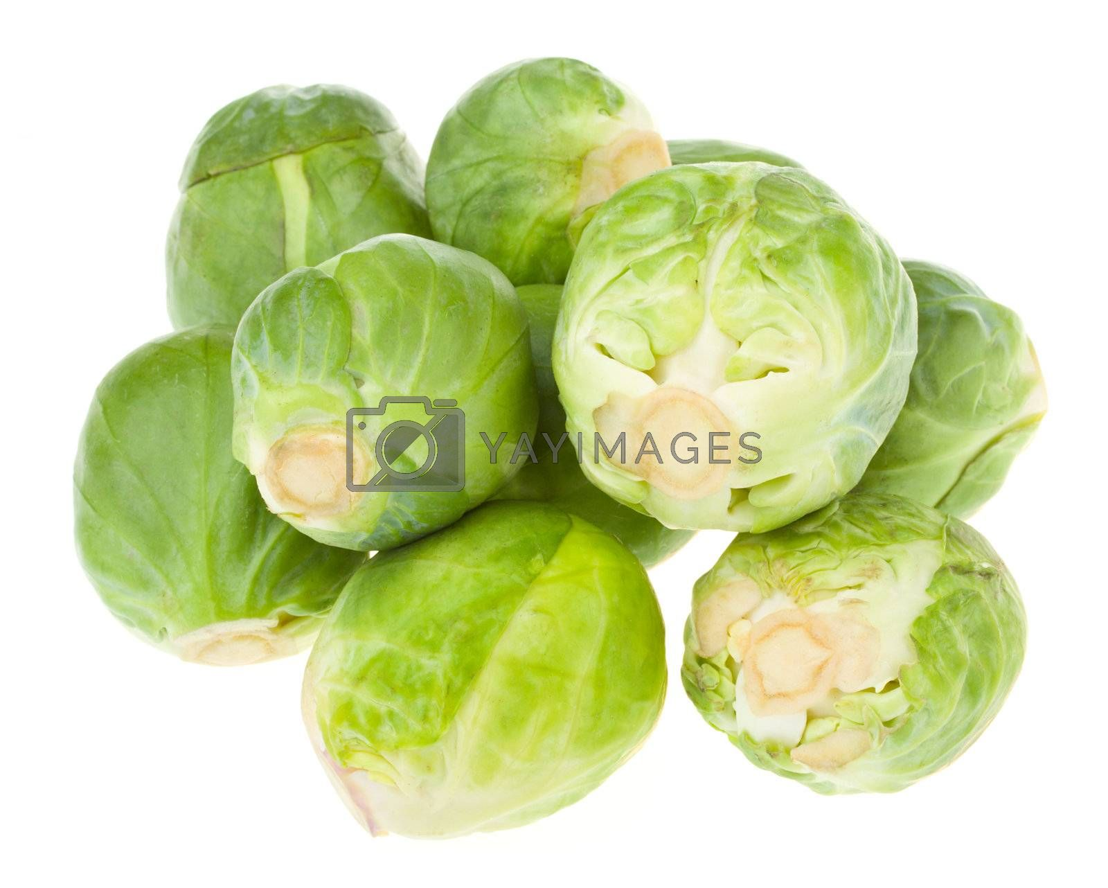 heap of brussels sprouts, isolated on white
