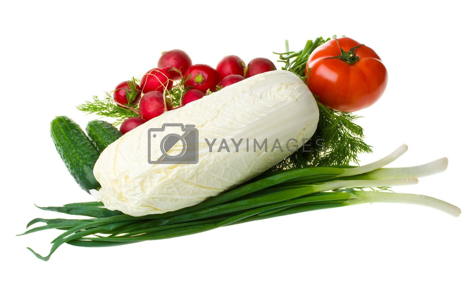 heap of fresh various vegetables, isolated on white
